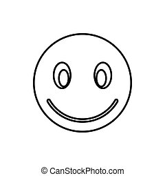 Smiling emoticon icon, outline style