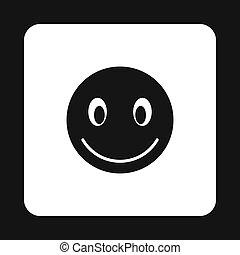 Smiling emoticon icon, simple style