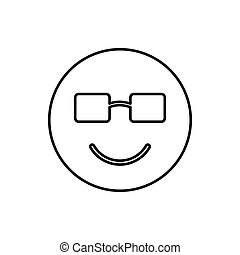 Smiling emoticon in sunglasses icon, outline style