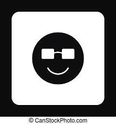 Smiling emoticon in sunglasses icon, simple style