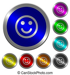 Smiling emoticon luminous coin-like round color buttons