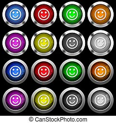 Smiling emoticon white icons in round glossy buttons on black background