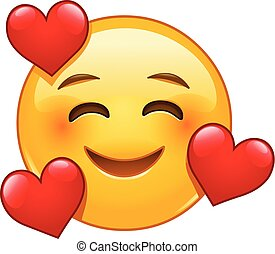 Smiling emoticon with 3 hearts