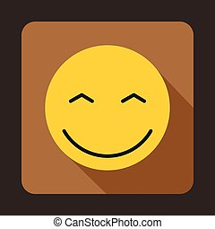Smiling emoticon with smiling eyes icon
