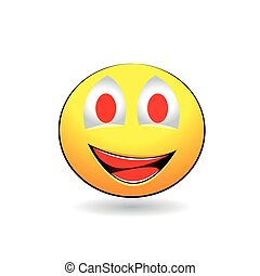 Smiling emotion with red teeth on a white background
