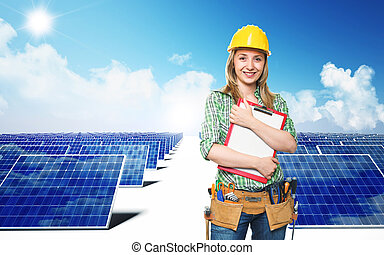 engineer and solar panel - smiling engineer and solar panel...