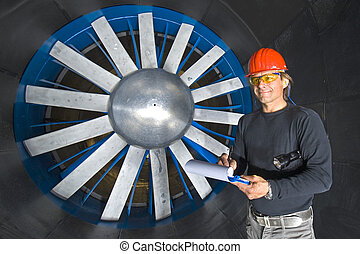 Smiling Engineer in a Windtunnel