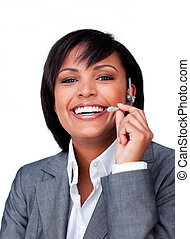 Smiling ethnic businesswoman