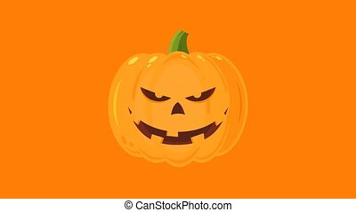Smiling Evil Halloween Pumpkin Cartoon Character. 4K ...