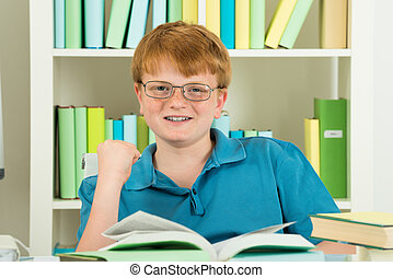 Smiling Excited Boy In Library