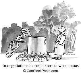 Smiling executive has toppled a statue with his stare - In...