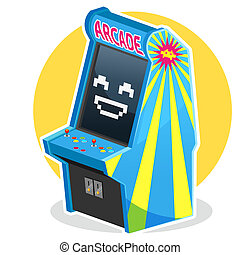 Blue Vintage Arcade Machine Game - Smiling Face Blue Vintage...
