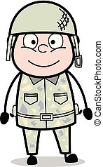 Smiling Face - Cute Army Man Cartoon Soldier Vector Illustration