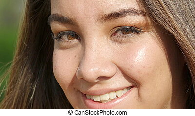 Smiling Face Of Cute Peruvian Teenager Girl