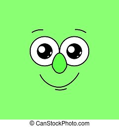 Smiling face with big eyes on a green background. Vector illustration