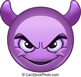 Smiling face with horns emoticon - Smiling face with horns. ...