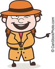 Smiling Face with Pointing Finger - Female Explorer Scientist Cartoon Vector