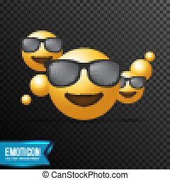 smiling Face With Sunglasses Emoji vector illustration, isolated on transparent background