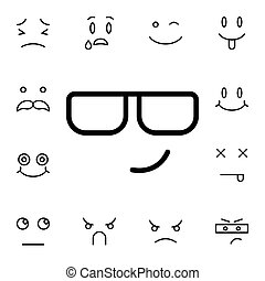 Smiling, face, with, sunglasses flat vector icon in emotions pack