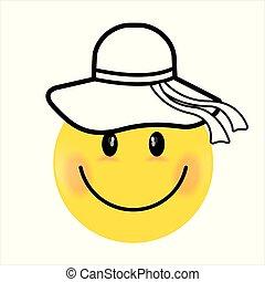 Smiling Face yellow girl. Happy smiley emoji vector yellow. Vector happy circle face.