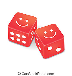 smiling faces on two red dice