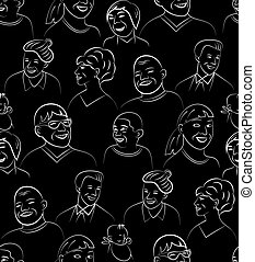 Smiling Faces Seamless Pattern