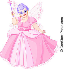 Fairy Godmother - Smiling Fairy Godmother holding magic wand...