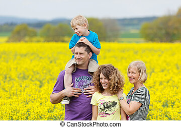 smiling family going for a walk