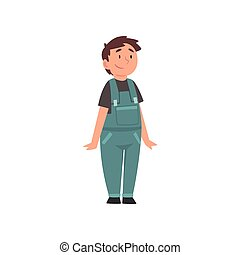 Smiling Fat Boy Wearing Denim Overalls, Cute Overweight...