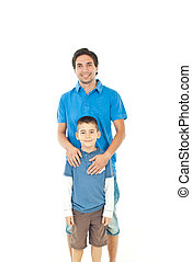 Smiling father and his son