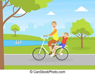 Smiling Father with His Happy Son Riding Bike in City Park, Dad Spending Good Time with His Child Vector Illustration