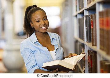 female african american university student reading