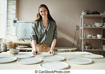 Smiling Female Ceramist