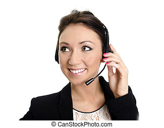 Smiling female customer support operator with headset. Isolated on white.