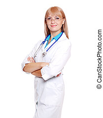 Smiling female doctor on white background