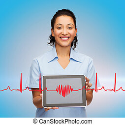 smiling female doctor or nurse with tablet pc