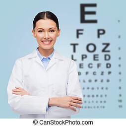 smiling female doctor with eye chart