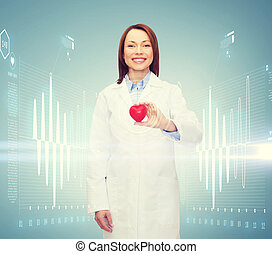 smiling female doctor with heart