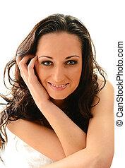 Smiling female isolated on white