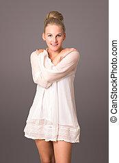 Smiling female model