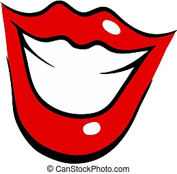 Smiling female mouth with red lips in cartoon style