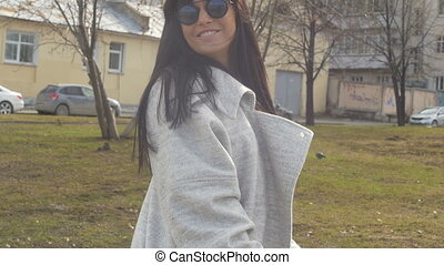 Smiling female outside