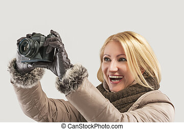 smiling female photographer