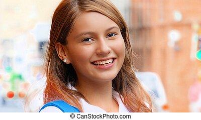 Smiling Female Teen Student 2