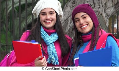 Smiling Female Teen Students Cold Weather