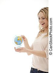 Smiling female with a globe