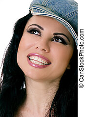Smiling Female with denim hat