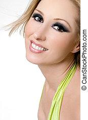 Smiling Female with dramatic eyes