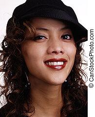Smiling Filipino Hispanic Woman Portrait With Hat