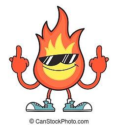 Smiling fireball with sunglasses cartoon